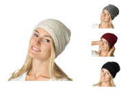 Wholesale Beanie Hats: H5218 Slouchy Mid-Weight Fall / Winter Ringlet Knit BeaniePre-Assorted Wholesale DozenBlack, Beige, Merlot, Navy, Gray