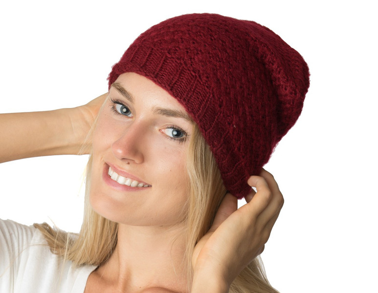 96b9ee353d2 Wholesale Beanie Hats  H5218 Slouchy Mid-Weight Fall Winter Ringlet Knit  Beanie Burgundy