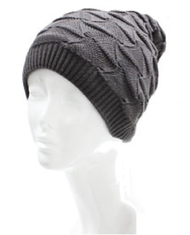 H5220 Wavy Triangle Knit Beanie Hat Gray