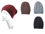 Wholesale Beanie Hats H5231 Winter Aran Cable Knit Slouchy Beanie   (Unit : Pre-Assorted Dozen)  Black, Beige, Gray, Brown, Burgundy