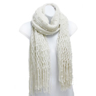 S5222 Winter Open Fish Net with Bobbles Knit Long Scarf with Fringe Beige