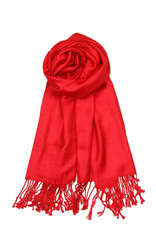 S5305# 04 Solid Color Elegant Pashmina Style Shawl Scarf with Tassels Red