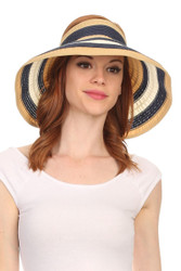 H6003 Striped Ribbon Packable Roll-Up Wide Brim Sun Visor Hat (Wholesale Piece or Dozen)