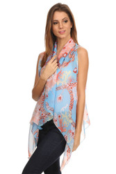 S6003 Renaissance Chains Lightweight Summer Chiffon Vest  Blue