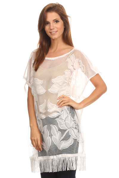 S6024-WH Embroidered Floral Sheer Lace Tunic with Fringe White
