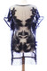 S6024-BK Embroidered Floral Sheer Lace Tunic with Fringe Black