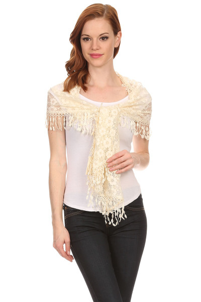 S6102 Oblong Flower Lace Scarf With Tassels Ivory