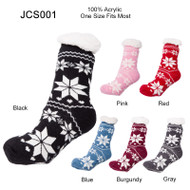 JCS001 SNOW FLAKE PRINT KNIT LONG SOCK WITH LINING INSIDE AND SILICON RUBBER GRIPPERS ON THE SOLE_12PRS