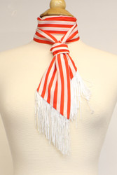 S6111 Red and White Stripe Skinny Scarf Sash Tie with Fringe