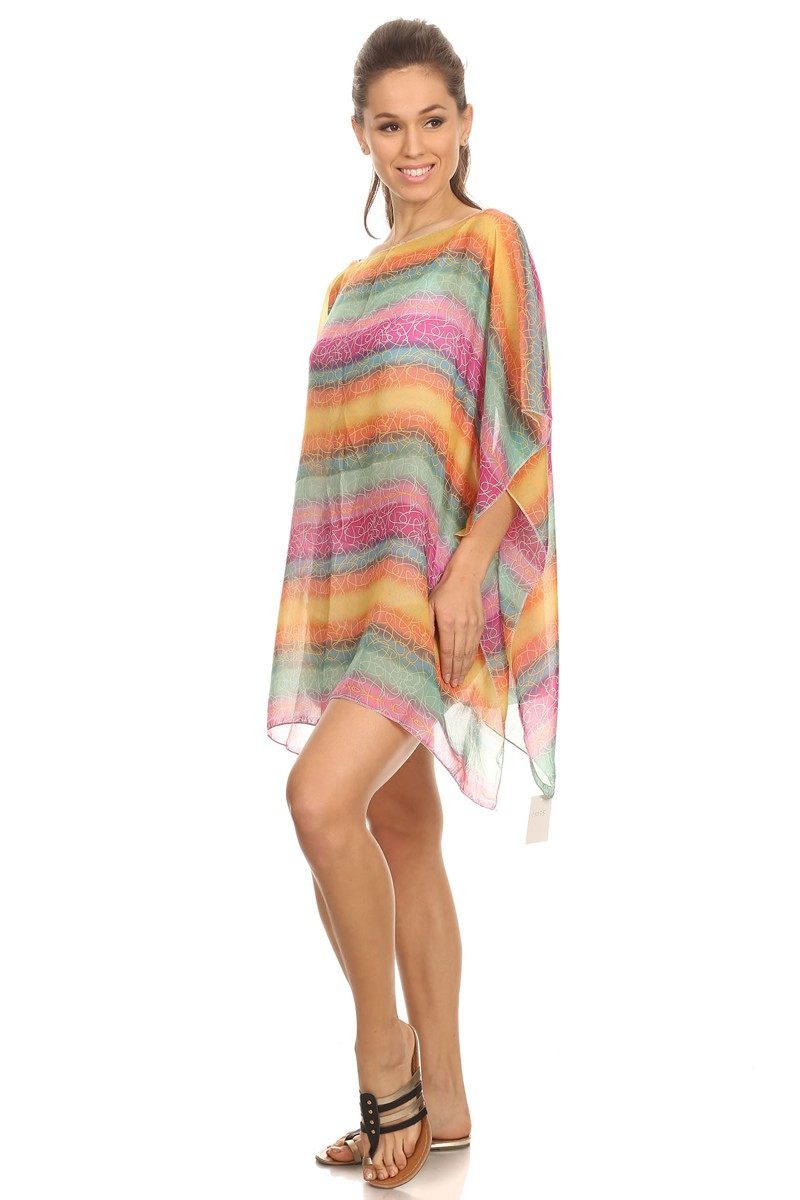 69d91c6b8f Womens Semi-sheer Jewel-toned Rainbow Chiffon Summer Fashion Tunic ...