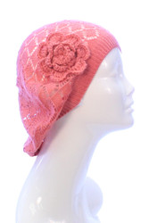 H5120F - Lightweight Diamond Knit Beret with Crochet Flower Peach