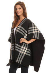 S6202 - Women's Reversible Plaid/Solid Winter Fleece Blanket Poncho With Trim Black and White Plaid