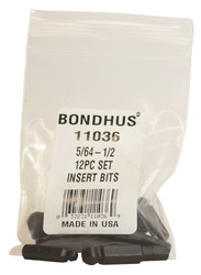 Bondhus 12pc 1/4in Shank Hex Insert Bit Set SAE Standard 5/64-1/2 BallDriver USA