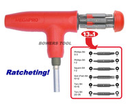 Megapro T Handle Ratcheting 13-1 Multi Bit Screwdriver Phillips Flat Torx Square