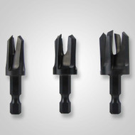 """Snappy 3pc Plug Cutter Set 1/4, 3/8, 1/2"""" Chamfer & Tapers Plug"""