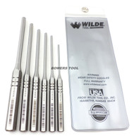 Wilde Tool 6pc Roll Pin Spring Punch Set Made in USA w Pouch