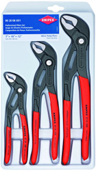 "Knipex Cobra 3 Piece Adjustable Plier Set 002006US1 7"" 10"" 12"" Water Pump Pliers"