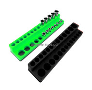Mechanics Time Saver 1/4 Drive Magnetic Socket Holder Tray Metric SAE Deep USA Black Green