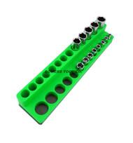 Mechanics Time Saver 1/4 Drive Magnetic Socket Holder SAE Deep Organizer MTS Green