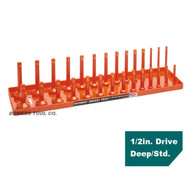 "Hansen Global 1/2"" Drive Socket Tray Holder SAE Inch Standard Deep USA Orange"