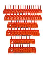 """Hansen 6pc Socket Organizer Tray Rack Holder Metric SAE 1/4"""" 3/8"""" 1/2"""" Orange"""