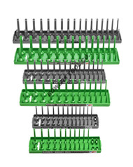 "Hansen 6pc Socket Organizer Tray Rack Holder Metric SAE 1/4 3/8 1/2"" Green Gray"