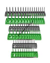 "Hansen 6pc Socket Organizer Tray Rack Holder Metric SAE 1/4 3/8 1/2"" Green Gray"