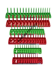 "Hansen 6pc Socket Organizer Tray Rack Holder Metric SAE 1/4 3/8 1/2"" Red Green"