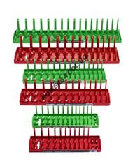 "Hansen 6pc Socket Organizer Tray Rack Holder Metric SAE 1/4 3/8 1/2"" Red Green"