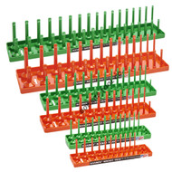 Hansen 6pc Socket Organizer Tray Rack Holder 1/4 3/8 1/2 in. Green Metric Orange SAE USA