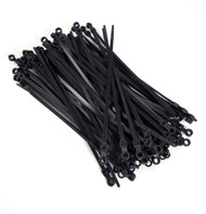 "Mounting Hole Zip Cable Ties 8"" 50lbs 100pc UV Black #10 Screw Mount Made in USA"