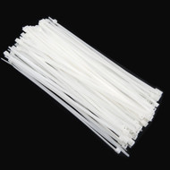 """Zip Cable Ties 8"""" 40lbs 100pc Natural White Made in USA Nylon Wire Tie Wraps"""