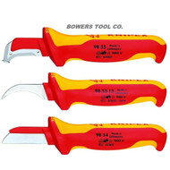 Knipex 3pc Cable Dismantling Knife Set Surgical Steel Shoe Hook Straight 1000V