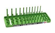 "Hansen (Green) 1/4"" Socket Tray Organizer Holder 3 Row Standard SAE Shallow Deep Green"