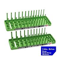 "Hansen (Green) 1/4"" Socket Tray Organizer Holder Set 3 Row Metric SAE Shallow Deep Green"