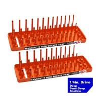 "Hansen (Orange) 1/4"" Socket Tray Organizer Holder Set 3 Row Metric SAE Shallow Deep Orange"