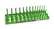 "Hansen (Green) 3/8"" Socket Tray Organizer Holder 3 Row Standard SAE Shallow Deep Green"