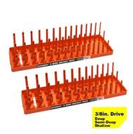 "Hansen (Orange) 3/8"" Socket Tray Organizer Holder Set 3 Row Metric SAE Shallow Deep Orange"