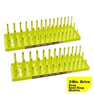 "Hansen (Yellow) 3/8"" Socket Tray Organizer Holder Set 3 Row Metric SAE Shallow Deep Yellow"