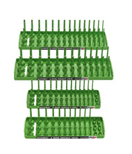 "Hansen (Green) 4pc Socket Holder Tray Organizer Set 3 Row 1/4"" 3/8"" Deep Shallow Green"