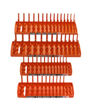 "Hansen (Orange) 4pc Socket Holder Tray Organizer Set 3 Row 1/4"" 3/8"" Deep Shallow Orange"