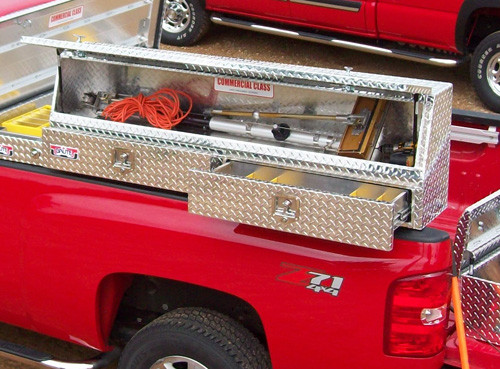 Slant Front Diamond Plate Aluminum Topsider With Drawers Truck Tool Box - Models 60 & 72 mounted on truck with tools - tools NOT INCLUDED