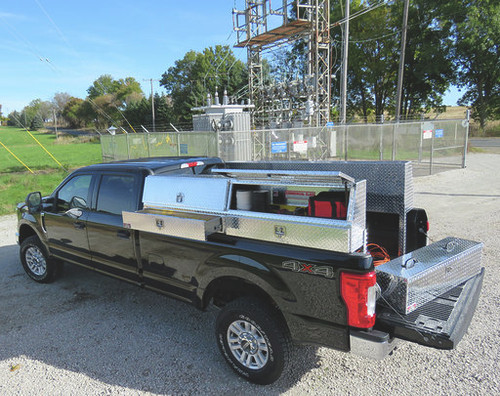 Brute Slant Front Diamond Plate Aluminum Topsider With Drawers Truck Tool Box - 90 inch model in brite aluminum with two doors and two drawers.  Chest toolbox on tailgate and tools inside toolbox are NOT included.