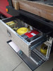 Brute Heavy Duty Top Drawer/Bottom Door Underbody Tool Box drawer comes with four moveable dividers (tools NOT included)