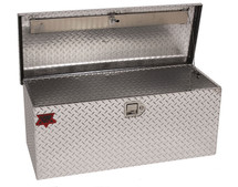 ATV RV Trailer Truck Camping Tote Toolbox in brite aluminum showing cable support.  Gas strut can be added as an option at checkout