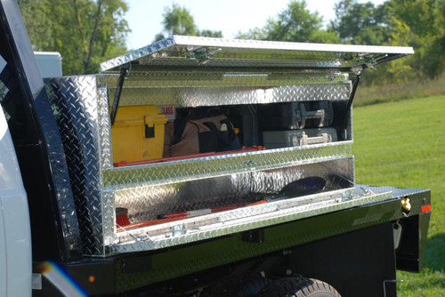 Brute High Capacity Flat Bed Stake Bed Topsider Truck Tool Box With Doors leaves plenty of room on the flatbed for hauling other equipment & supplies (tools shown not included)