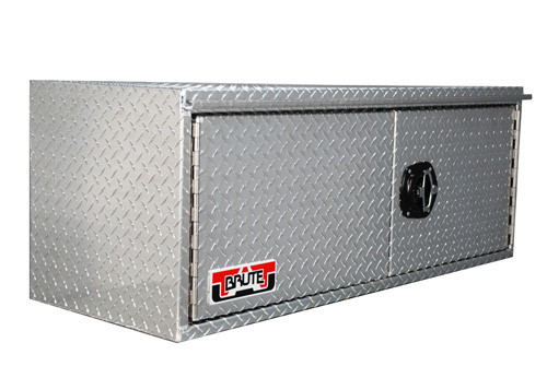 Brute Heavy Duty Underbody Swing Barn Door Tool Box showing Models 36, 48 and 60 , which feature split doors that open left & right