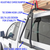 No Drill Truck Cap Ladder Rack has tie down loops, Delta leg design for stability and adjustable  cargo bumpers