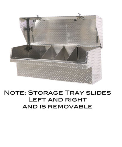 Sliding storage tray for small parts/tools in our Heavy Duty Low Profile Side Mount Truck Toolbox