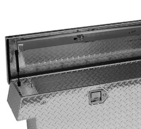 Narrow Low Profile Crossover Diamond Plate Toolbox showing locking paddle latch, gas strut, reinforced lid brace & end storage shelf